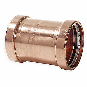 "Copper XL Coupling No Stop, Press x Press Connection Type, 4"" x 4"" Tube Size"