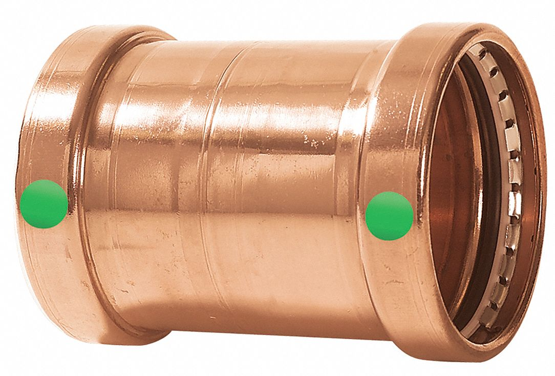 Copper XL Coupling No Stop, Press x Press Connection Type, 2-1/2 in x 2-1/2 in Tube Size