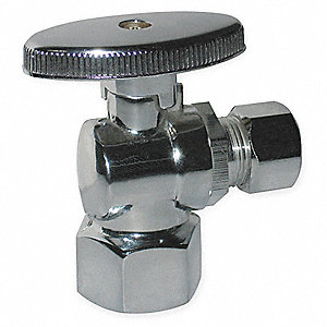 Chrome Plated Quarter-Turn Supply Stop, FNPT Inlet Type, 125 psi