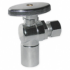 Chrome Plated Quarter-Turn Supply Stop, Sweat Inlet Type, 125 psi