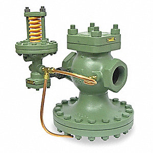 "E Series 5-3/8""L Cast Iron Pilot-Operated Pressure Regulator, 10 to 100 psi"