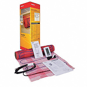 Electric Floor Heating Kit, 10 sq. ft., Voltage 120, Watts Per Square Ft. 12, Width 20""