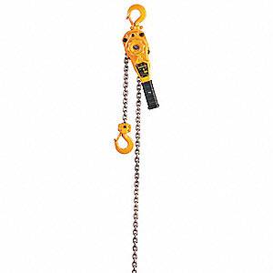 "Lever Chain Hoist, 2000 lb. Load Capacity, 10 ft. Hoist Lift, 1-1/8"" Hook Opening"
