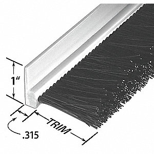 Stapled Set Strip Brush,PVC,Length 36 In