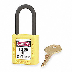 Yellow Lockout Padlock, Different Key Type, Master Keyed: No, Thermoplastic Body Material