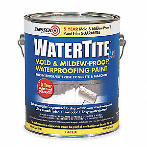 Smooth Latex Waterproofing Paint, Bright White, 1 gal.