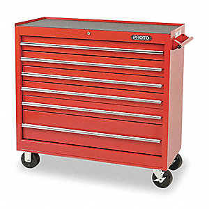 "Red Rolling Cabinet, Series 440, Standard Duty, Width: 41"", Depth: 18"", Height: 42"""