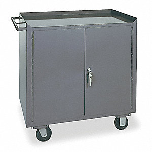 Gray Mobile Workbench, 2000 lb. Load Capacity, (2) Rigid, (2) Swivel Caster Type