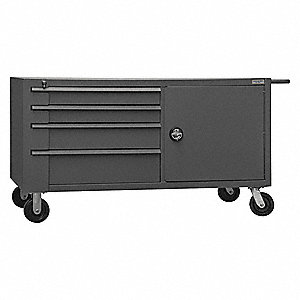 "32"" x 66-3/4"" x 37"" Gray Mobile Workbench, 4000 lb. Load Capacity"
