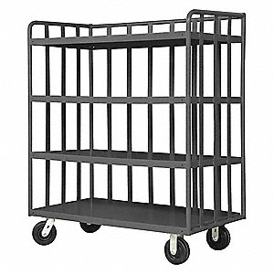 "48""L x 24""W x 58""H Gray Steel 3 Sided Slat Stock Cart, 2000 lb. Load Capacity, Number of Shelves: 4"