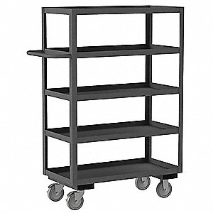 "48""L x 30""W x 55-3/4""H Gray Steel Open Stock Cart, 1200 lb. Load Capacity, Number of Shelves: 5"
