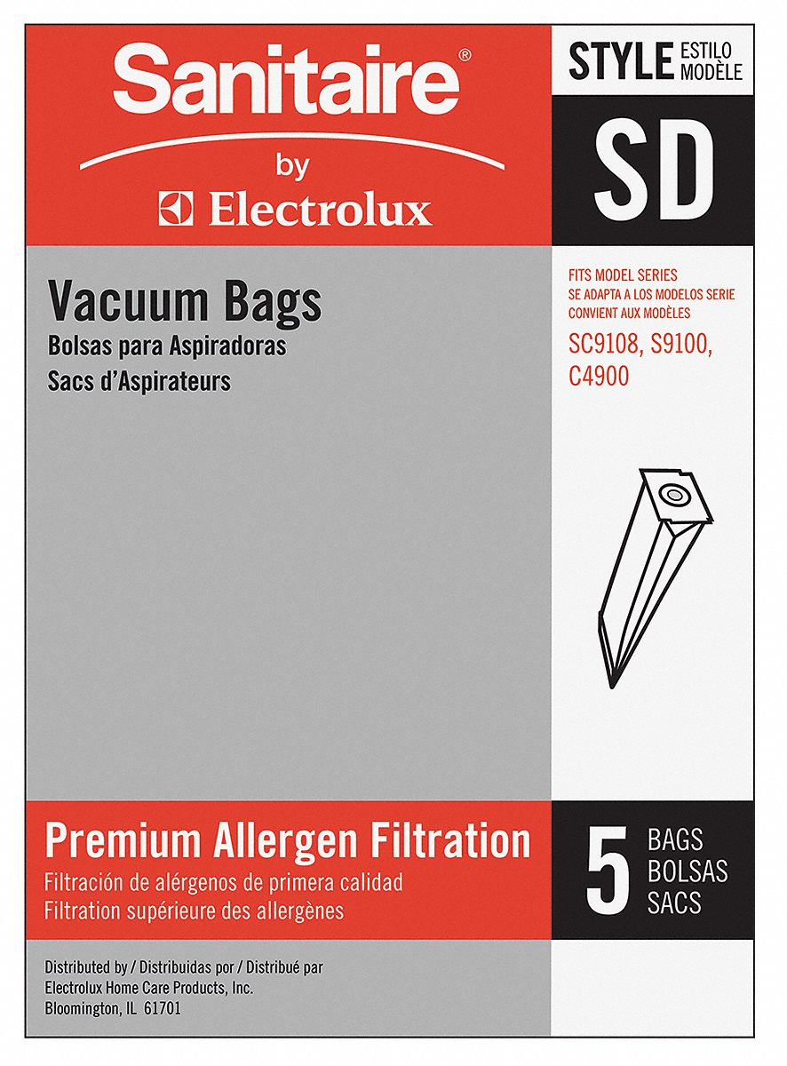 Vacuum Bag,  Paper,  Standard Bag Filtration Type,  For Vacuum Type Upright Vacuum