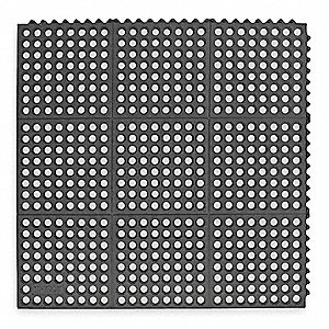 Interlocking Drainage Mat, Nitrile Rubber, Black, 1 EA