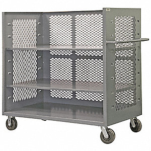 "30""L x 48""W x 57""H Gray Steel 3-Sided Stock Cart, 2000 lb. Load Capacity, Number of Shelves: 1"