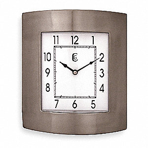 Wall Mount Rectangle Analog Quartz Clock, Brushed Silver