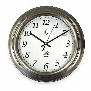 Analog Clock,Radio Control,14-1/2,Silver