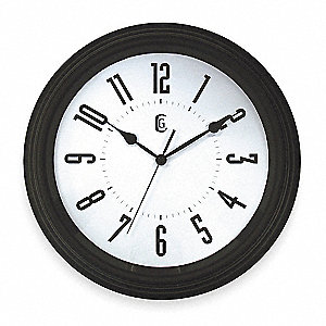 Quartz Clock,Analog,12 hr.,Quartz,Round