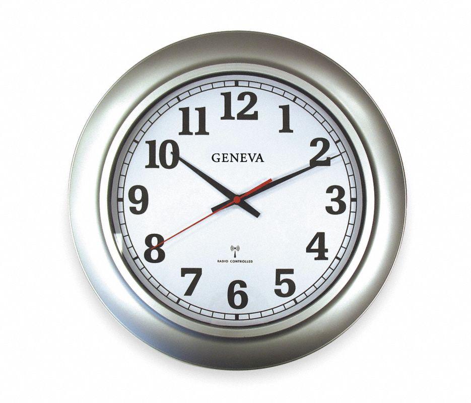 Quartz Atomic Clock,Analog,12 hr.,Round