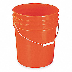 Plastic Pail,Red,Cap 5.4 Gal,w/Handle