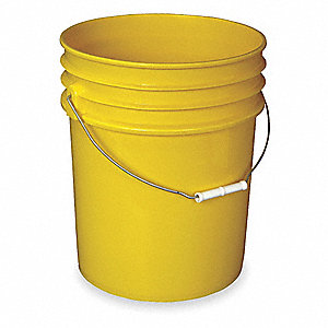 5.4 gal. High Density Polyethylene Round Plastic Pail, Yellow