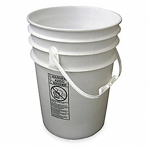 Plastic Pail,White,Cap 6 Gal,With Handle