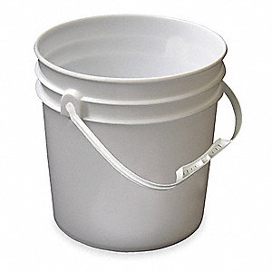 Pail,Plastic,White,Cap 1 Gal,With Handle