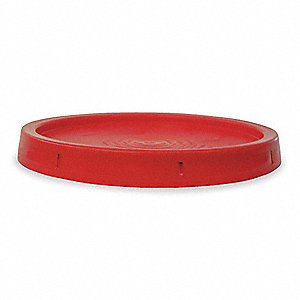 Plastic Pail Lid,Red,Use w/1TMC6,1TMD1