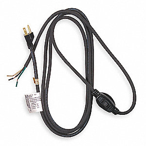 8 ft. Power Cord with SJO NEC Cord Designation, 14/3 Gauge/Conductor, and 10 Max. Amps
