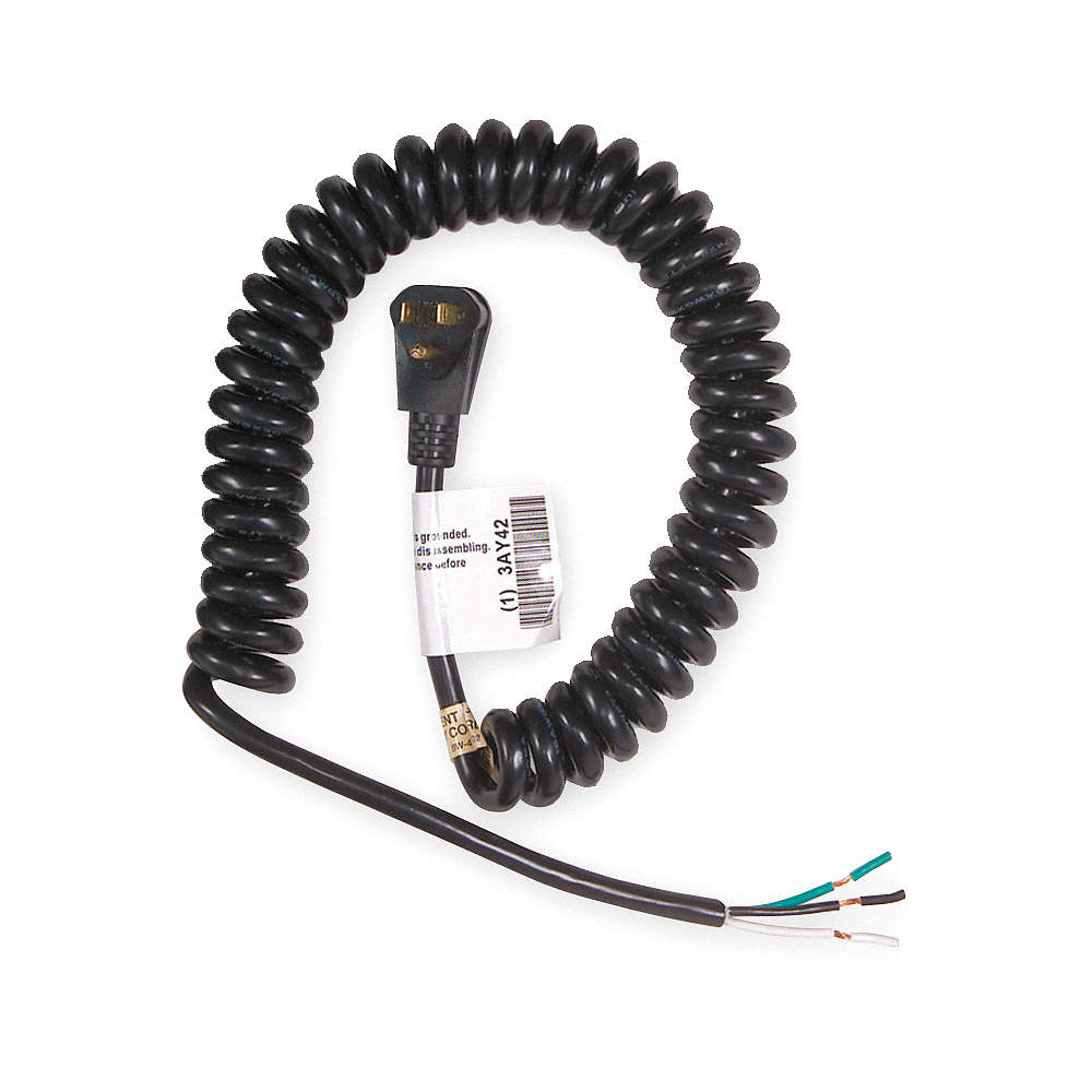 POWER FIRST 20 ft. Coiled Power Cord with SJT NEC Cord Designation ...