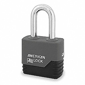 "Alike-Keyed Padlock, Extended Shackle Type, 2"" Shackle Height, Gray"