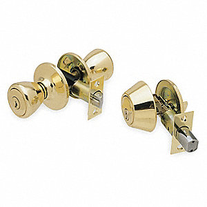 Entrance Knob Lockset, Polished Brass Finish, Light Duty