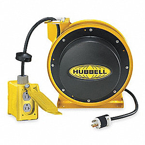 125VAC Heavy Industrial Retractable Cord Reel; Number of Outlets: 2, Cord Included: Yes