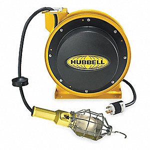 Extension Cord Reel with Hand Lamp, Incandescent Lamp, Yellow, 50 ft. Cord Length
