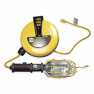 75 Watt Incandescent Metal Extension Cord Reel with Hand Lamp, Yellow