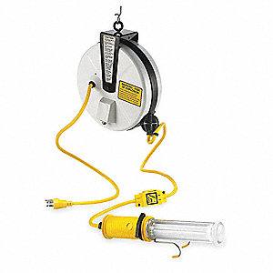 13 Watt Fluorescent Metal Extension Cord Reel with Hand Lamp, White
