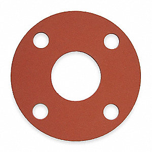 "SBR Blend Flange Gasket, 7-1/2"" Outside Dia., Red"
