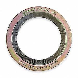 "304SS and Flexible Graphite Spiral Wound Metal Gasket, 3-3/4"" Outside Dia., Yellow With Gray Band"