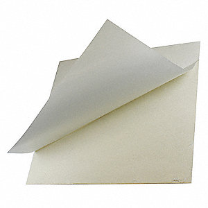 "Buna-N Rubber Sheet, 12""W x 1 ft.L x 1/8""Thick, 60A, Adhesive Backing Type, 450% Elongation, White"