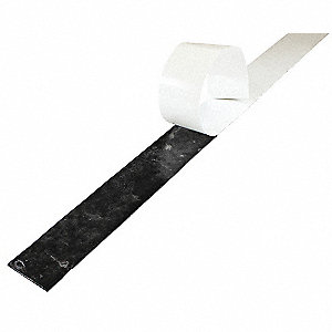 "Buna-N Rubber Strip, 2""W x 3 ft.L x 3/16""Thick, 60A, Adhesive Backing Type, 200% Elongation, Black"