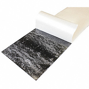 "Buna-N Rubber Sheet, 12""W x 3 ft.L x 1/8""Thick, 70A, Adhesive Backing Type, 250% Elongation, Black"