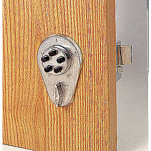 Mechanical Push Button Deadbolt, 5 Button, Vandal Resistant, Entry with Deadlocking Holdback Spring
