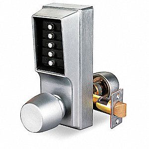 Mechanical Push Button Lockset, 5 Button, Vandal Resistant, Entry, Satin Chrome