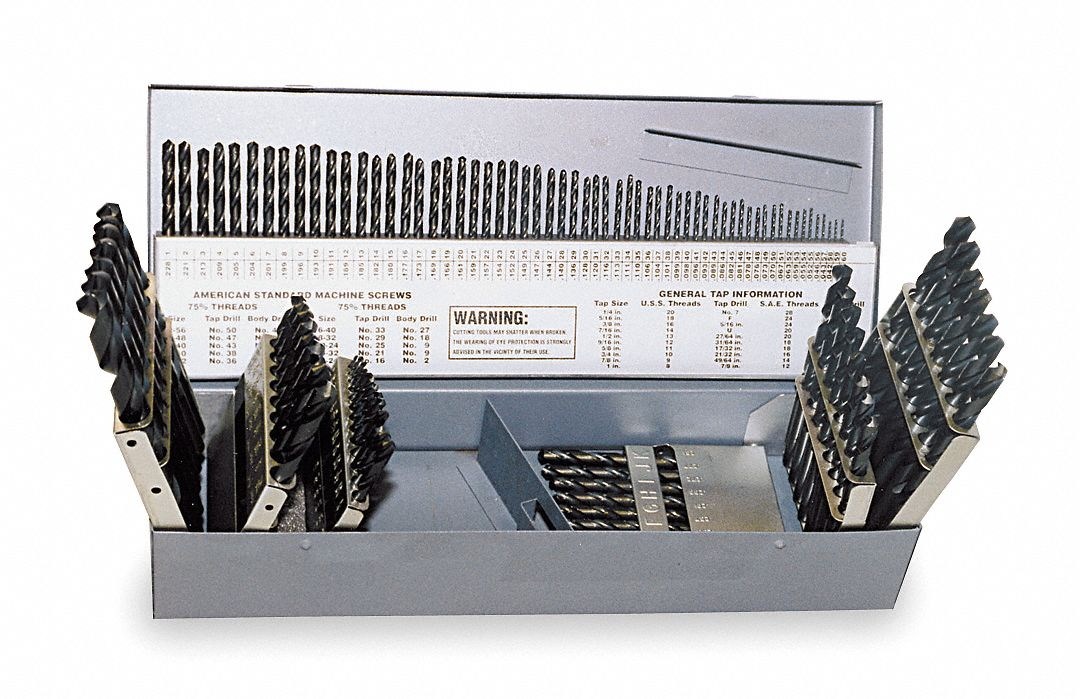 Jobber Drill Bit Set,  Number of Drill Bits 115,  Drill Bit Point Angle 135 °