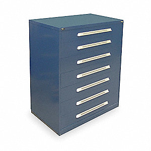 "Stationary Full Height Modular Drawer Cabinet, 7 Drawers, 45""W x 27-3/4""D x 59""H Dark Blue"