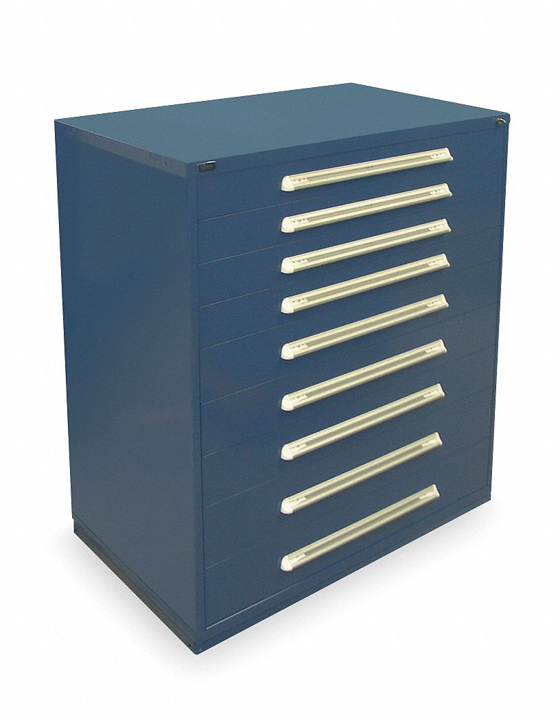 Stationary Full Height Modular Drawer Cabinet, 9 Drawers, 45 inW x 27 3/4 inD x 59 inH Dark Blue