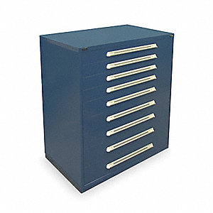 "Stationary Full Height Modular Drawer Cabinet, 9 Drawers, 45""W x 27-3/4""D x 59""H Dark Blue"