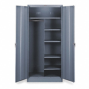 "Commercial Storage Cabinet, Medium Gray, 78"" H X 36"" W X 18"" D, Assembled"