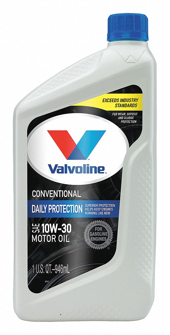 Conventional Engine Oil, 1 qt Bottle, SAE Grade: 10W-30, Amber