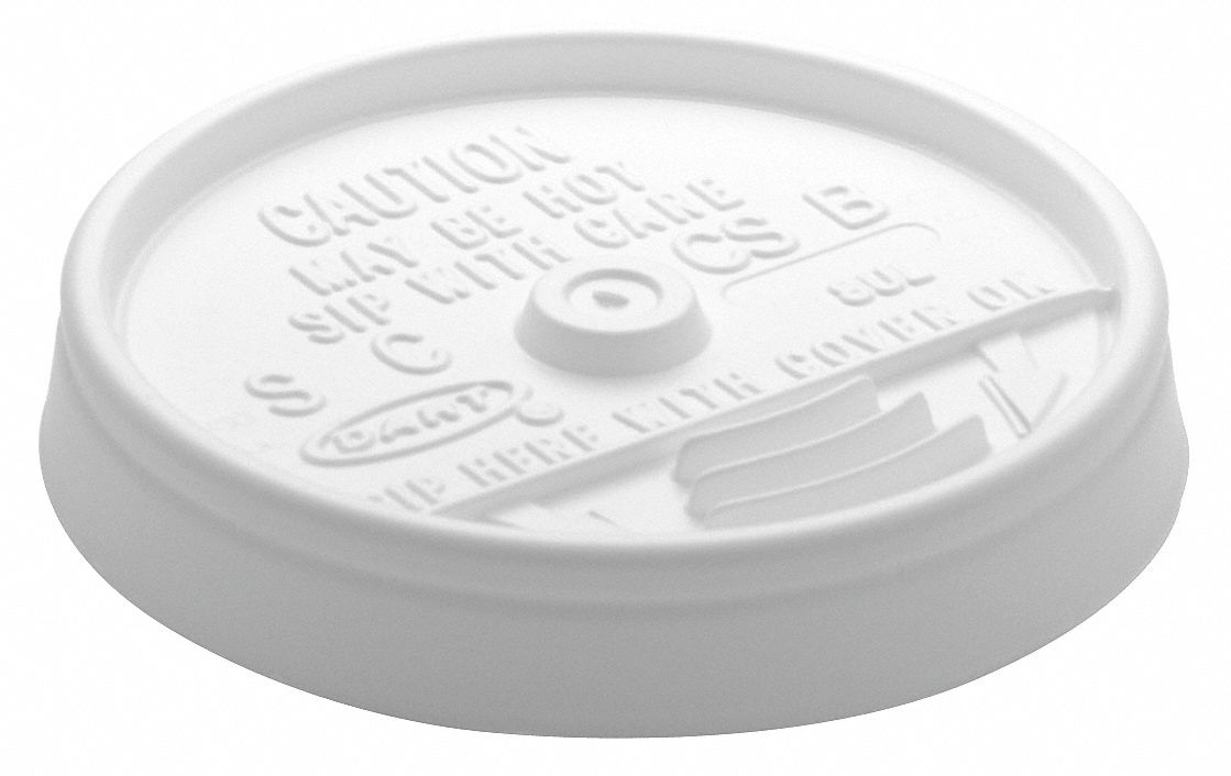 6 to 14 fl. oz. Plastic Flat, Sip Through Hot/Cold Cup Lid, White, 1000 PK