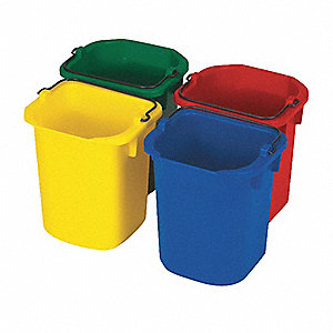 1-1/4 gal. Blue/Green/Red/Yellow Polypropylene Disinfectant Pail Set, 4  PK